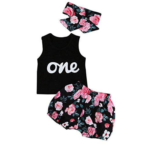 Bekleidung Longra Babykleidung Sommer, Baby Mädchen Outfits Kleidung T-Shirt Tops + Hosen + Stirnband Set(0-24Monate) (70CM 0-6Monate, Black)