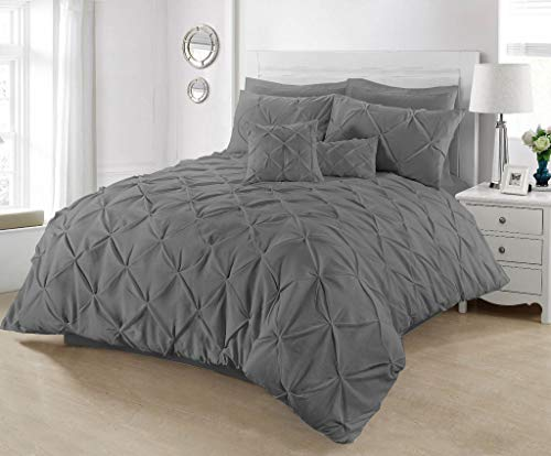 Pintuck Duvet Cover with Pillowcases 100% Percale Cotton Quilt Bedding Covers Single Double King Super King Size Bed Sets (Charcoal Grey, King)