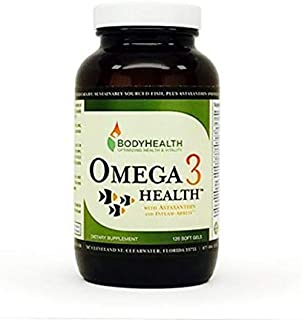 روغن ماهی سلامتی BodyHealth Omega 3 - تامین 2 ماهه (120 ژل نرم). قلب ، مغز ، سلامت بینایی. با آستاگزانتین ، پشتیبانی از التهاب و ویتامین D3. بدون دزد دریایی