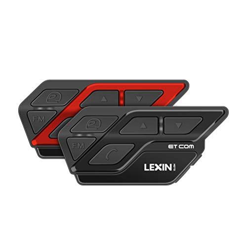 LEXIN 2X ET-COM Intercomunicador Casco Moto Bluetooth con Radio FM, 1-2 Motociclistas Sistema de Comunicación Reducción de Ruido e Impermeable, Distancia de intercomunicació 1200M para Moto/Of
