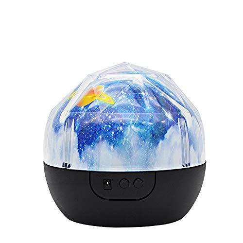 Vislone - Proiettore di luce notturna per bambini, camera da letto, 360°, rotazione pianeta LED, lampada di illuminazione notturna colorata, universo stellato oceano, buon compleanno proiettore