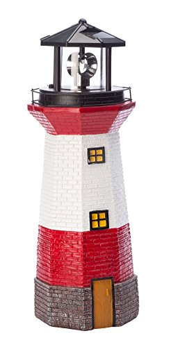 Miles Kimball Red Solar Lighthouse by Maple Lane CreationsTM- Rotating LED Light Outdoor Décor - Lawn and Garden Resin Lighthouse