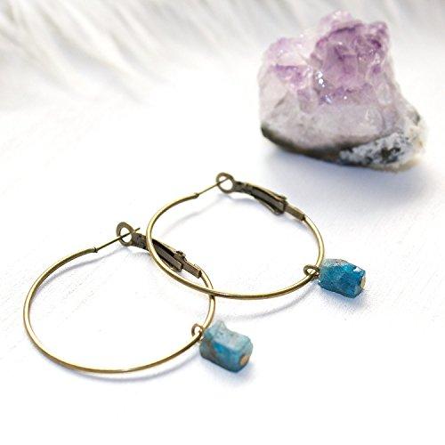Raw Apatite Crystal Hoop Earrings Natural Gemstone Handmade Jewelry