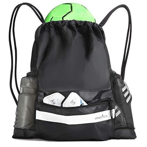 Athletico Fußballtasche mit Kordelzug – Fußball-Rucksack kann auch Baskeyball oder Volleyball tragen (schwarz)
