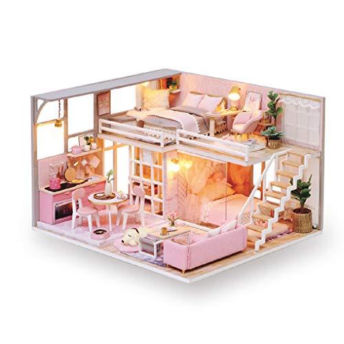 GuDoQi DIY Puppenhaus Miniatur Kit, 3D Hölzernes Puppenhaus Bausatz mit Möbeln und Musik, Handgefertigte Modellbausätze für Erwachsene und Sammler, Mini Mädchenhaftes Traumzimmer