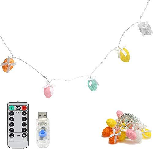 Eggs - Guirnalda de luces LED en forma de huevo (40 m, 20 ledes, USB, con mando a distancia)