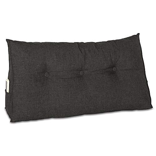 maxVitalis Rückenkissen, Bett-Rückenstütze Keilform, Rückenstützkissen, für Bett & Sofa, 100 cm breit, ideal für 2 Personen, praktisches Seitenfach, Bezug waschbar (Schwarz)