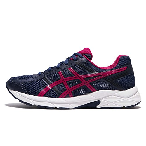 Asics Gel-Contend 4, Zapatillas de Deporte Mujer, Azul (Indigo Blue / Cosmo Pink / Black), 37 EU