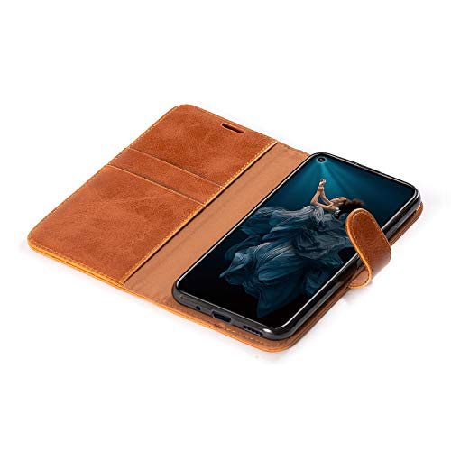 Mulbess Handyhülle für Honor 20 Pro Hülle, Leder Flip Case Schutzhülle für Huawei Honor 20 Pro / Honor20 Pro Tasche, Cognac Braun - 5