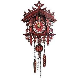 IGUFSDIG 1Pcs Wood Cuckoo Clock Swing Chic Swing Antique Coo Coo Clock Vintage Cuckoo Wall Clock House Hanging Cuckoo Wall Clock Cuckoo Clock Retro Vintage Handcrafted