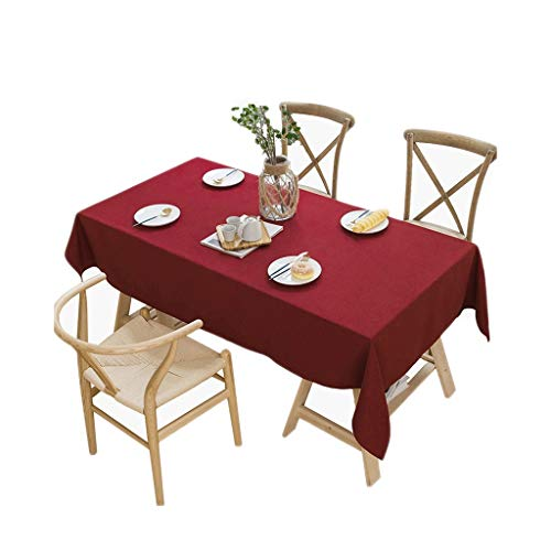 Manteles Tela Algodón Color sólido Pequeño Fresco IKEA Mesita nórdica Lisa nórdica de Estilo japonés Rectangular Anti-escaldado Simple Moderna (Color : Red, Size : 130 * 180cm)