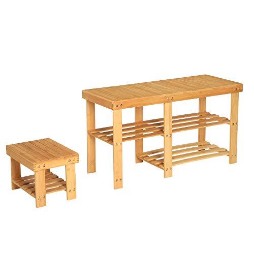 SONGMICS Schuhbank aus Bambus, mit Stuhl für Kinder, 2er Set Schuhregale, gut belastbar, Sitzbank mit 3 Ebenen, Aufbewahrung für Flur, Schlafzimmer, Wohnzimmer, naturfarben LBS20NL