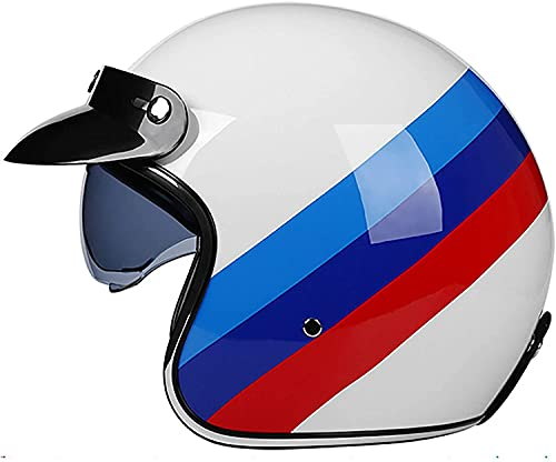 Egrus Vintage Jet-Helm · Motorrad-Helm Roller-Helm Scooter-Helm Moped Mofa-Helm Chopper Retro Vespa Vintage Pilot Biker Helmet · ECE 22.05 Zulassung mit Visier Offenem Gesicht Helm L=58~59cm