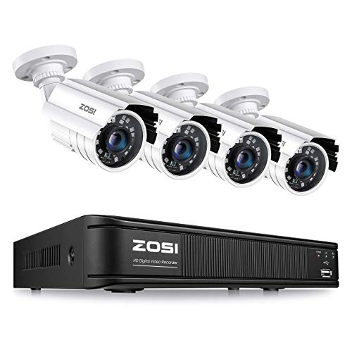 ZOSI 1080p H.265+ Home Security Camera System, 5MP Lite 8 Channel CCTV DVR Recorder with 4 x 1920TVL Security Camera Outdoor Indoor, 80ft Night Vision, Remote Access, Motion Detection (No Hard Drive)