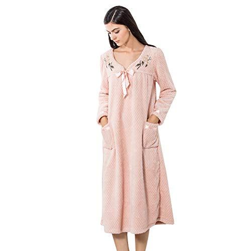 HOMDREAM Damen Nachthemden Viktorianischen Pyjama Dicker Korallensamt Rosa Niedlicher V Ausschnitt Prinzessin Mode Nachthemd Home Service,XL