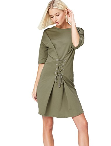 Amazon-Marke: find. Damen Kleid Lace Up, Grün (Dusty Olive), 38, Label: M