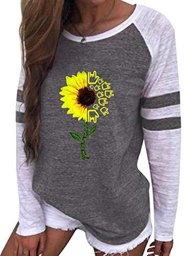 FOBEXISS Sudaderas con estampado floral para mujer, cuello redondo, bloque de reloj, manga larga, túnica para mujer