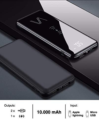 Vainz Draadloze powerbank, mobiele oplader 10000mAh【2020 nieuw】 externe accu, 2-in-1 draadloze Qi powerbank met micro-USB en Lightning-kabel, dubbele ingangen en 3 uitgangen 【2 x USB, 1 x draadloos】