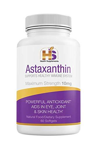 Astaxanthin 10 mg, Powerful Antioxidant, Anti-Inflammatory Supplement (60 caps)...