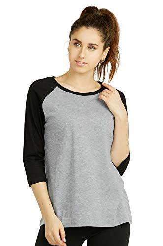 Cottonbell Women's Baseball Quarter Sleeve Tee Shirt (S, Light Heather/Black)