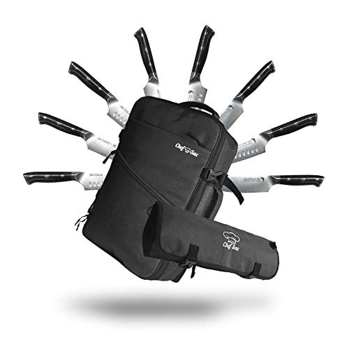 Chef Knife Bag Backpack Set with Knife Roll | Knife Case with 40+ Pockets for Knives and Culinary Tools | Great Knife Bag for Chefs & Culinary Students | Knives & Tools Not Included