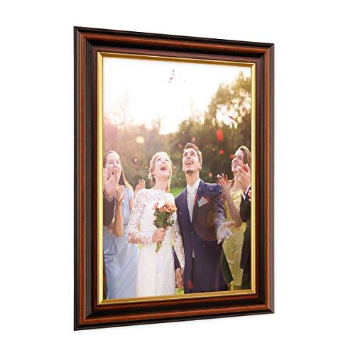 PHOTOLINI Bilderrahmen 21x30 cm/DIN A4 Antik Dunkelbraun mit Goldkante Massivholz mit Glasscheibe inkl. Zubehör