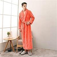 男性と女性の冬のパジャマ厚めの浴衣無地無地長袖ベルト長パジャマ