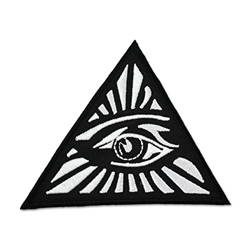 All Seeing Eye Triangle Embroidered Masonic Patch - [Black & White][3'' Tall]