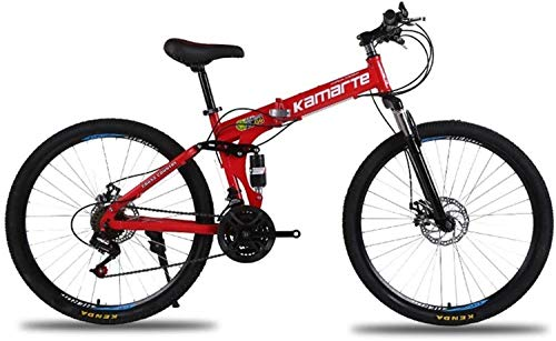 26 inches disc Brakes Mountain Bike, Folding Bicycle Gear Wheel 21 Formed integrally Damper Speed Bicycle Student, The Load Capacity of 200 kg (Color: red) (Color : Red)
