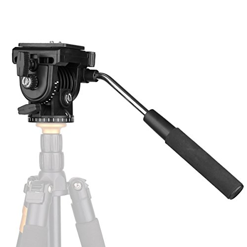"Fluid Head,pangshi VT-1510 Video Camera Tripod Head Fluid Drag Pan Tilt Head with 1/4"" Quick Release Plate for Canon Nikon Sony DSLR Cameras Camcorder Shooting Filming"
