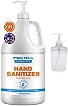 Hydra Pearl Hand Sanitizer Gel With Pump - 70% Alcohol - Unscented - Bulk Refill Size - Free 10 oz Empty Travel Size Bottl...