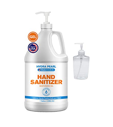 Hydra Pearl Hand Sanitizer Gel With Pump - 70% Alcohol - Unscented - Bulk Refill Size - Free 10 oz Empty Travel Size Bottle - Made in USA (1 Gal, 1-Pack)