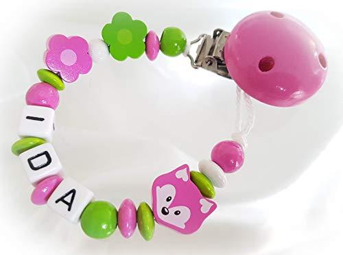 Baby Schnullerkette mit Namen - Fuchs, Mädchen, Wunschnamen, Taufe (Pink Grün)