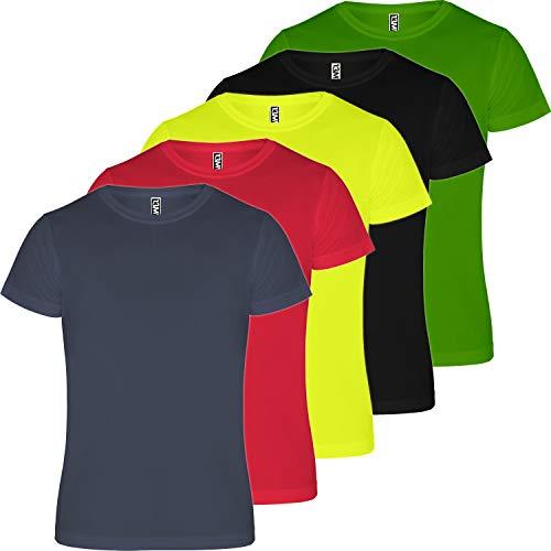 13MW Camiseta técnica Hombre | Pack 5 | Tejido técnico para Deporte | Transpirable | Running, Fitness, Fútbol, Padel (Combinación 3, L)