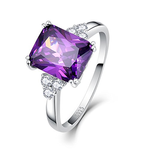 Bonlavie Women's 5.25ct Emerald Cut Created Royal Purple Amethyst Square Crystal Silver Plated Ring Size S