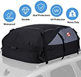 Car Roof Bag Cargo Carrier, 21 Cubic Feet Waterproof Rooftop Luggage Bag Vehicle Softshell Carriers, Anti-Tear 1000D PVC with 8 Reinforced Straps + Storage Bag for All Vehicle with/Without Rack