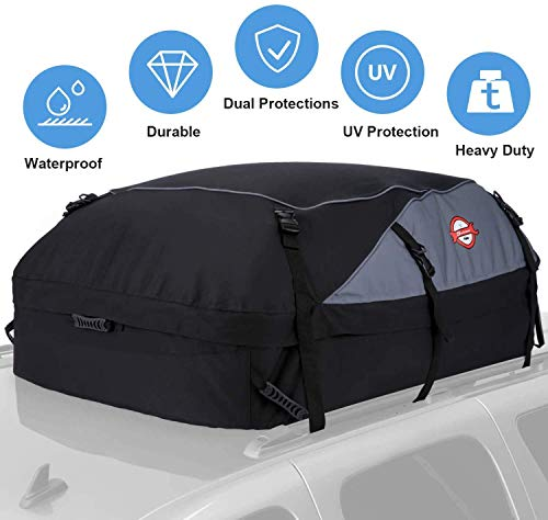 Car Roof Bag Cargo Carrier, 21 Cubic Feet Waterproof Rooftop Luggage Bag Vehicle Softshell Carriers,...