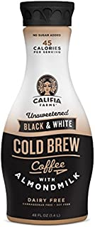 Califia Farms Unsweetened Black & White Cold Brew Coffee with Almondmilk, 48 Oz (Pack of 8) | Dairy Free | Whole30 | Keto | Plant Based | Nut Milk | Vegan | Non-GMO