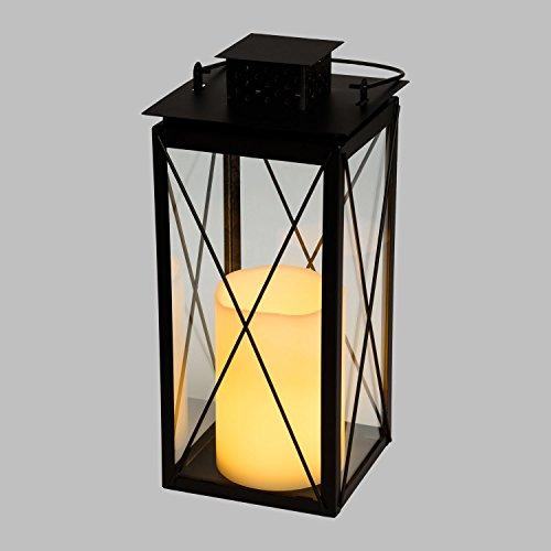 LuminalPark Lanterne carrée en métal Noir et en Verre, 15,5 x h 34 cm, Bougie LED Blanc Chaud à Pile Telecomando 7 Fonctions IR