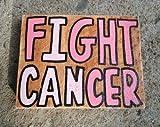 Señal de madera para luchar contra el cáncer, signo de madera para concienciación del cáncer, cartel de madera con cinta rosa de cáncer de mama, regalo de aliento para el paciente superviviente