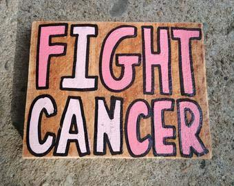 Señal de madera para luchar contra el cáncer, signo de madera para concienciación del cáncer, cartel de madera con cinta rosa de cáncer de mama, regalo de aliento para el paciente supervivient