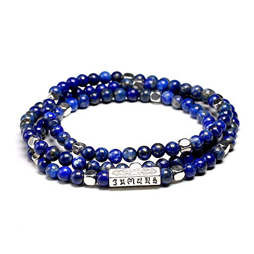 HMANE Tibetano Om 108 Mala Pulseras 4mm Perla Piedra Natural Lapis Lazuli Pulseras para Las Mujeres
