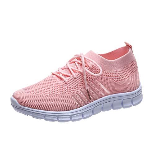 Xmiral Mesh Atmungsaktiv Sneakers Damen Einfarbige Schnür-Laufsportschuhe Joggingschuhe (37,Rosa)