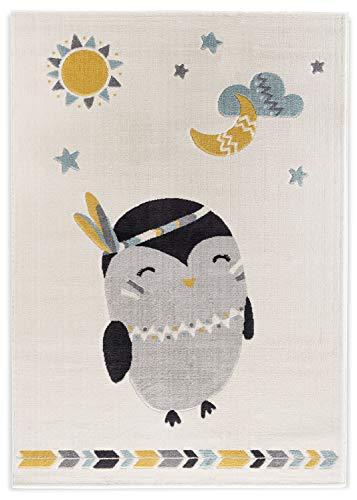 Teppich 120x170cm Beige mit Motiv und superweichem Gewebe für Kinderzimmer