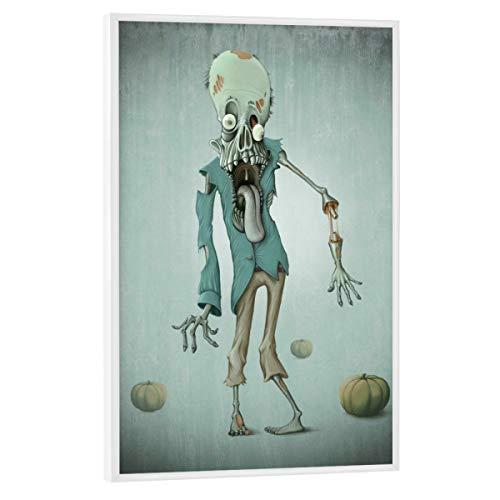 artboxONE Poster mit weißem Rahmen 30x20 cm Comic Funny Zombie - Bild Zombie Undead Walking Dead