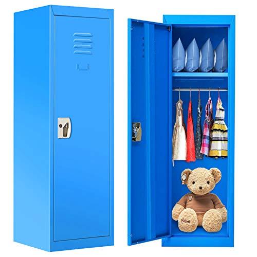HONEY JOY 48 Inch Daycare Coat Locker,2 Tier Steel Storage Locker w/Keys & Door, Kids Backpack Storage for Classroom, Home, Blue