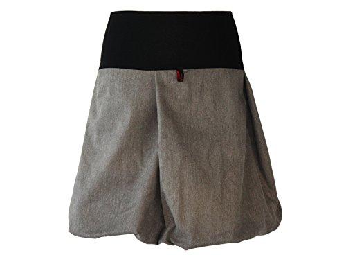 dunkle design Damen Ballonrock Jeansrock Jeans Farbe nach Wahl in Blau - Mint - Braun - Grau - Schwarz Weiß - Brombeere - Oliv - Weinrot - Schwarz (XXL 46, Oliv Fischgrat)