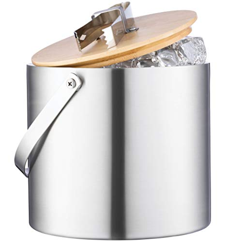 Double Wall Stainless Steel Insulated Ice Bucket With Lid and Ice Tongs - [3 Liter] Modern Bamboo Lid With Built-In Tong- Comfortable Carry Handle- Great for Home Bar, Chilling Beer Champagne and Wine