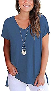 Women's Short Sleeve High Low Loose Blue T-Shirt Basic Tee Tops with Side Split