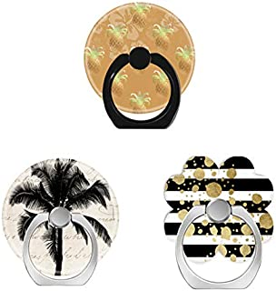 Bsxeos 360°Rotation Cell Phone Ring Holder with Car Mount Work for All Smartphones and Tablets-Hawaiian Tropical Palm Tree-Gold Paint Splatter on Black White Stripes-Gold Pineapples Hibiscus(3 Pack)